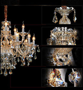 15 Lights Crystals Chandelier Color Cognac - EK CHIC HOME