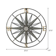 Load image into Gallery viewer, Compass Metal Wall Hanging Art Decor 27.5x27.5 Inches - EK CHIC HOME