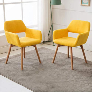 (Set of 2) Modern Living Dining Room Accent Arm Chairs Club Guest with Solid Wood Legs (Yellow) - EK CHIC HOME