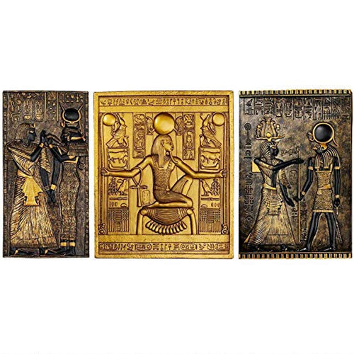 Egyptian Temple Steles Tutankhamen, Isis and Horus Wall Sculpture Plaques, 10 Inch, Set of Three - EK CHIC HOME