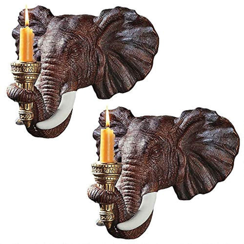 Elephant Decor Candle Holder Wall Sconce Sculpture, 12 Inch, Set of Two - EK CHIC HOME