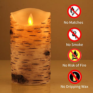 Flickering Candles, Candles Birch Set of 3 - EK CHIC HOME