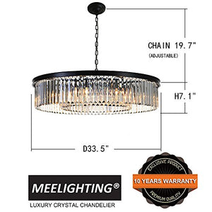 "Contemporary Chandelier D33.5"" (8 Lights) - EK CHIC HOME"