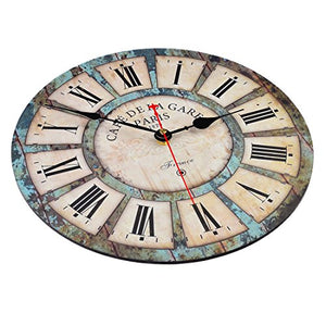 12 Inch Vintage France Paris French Country Style Design Silent Wooden Wall Clock - EK CHIC HOME