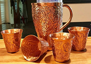 Embossed Moscow Mule Copper Bundle - Includes 4 Copper Mugs and Matching Shot Glasses - EK CHIC HOME