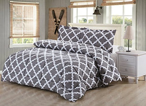 Utopia Bedding Printed Comforter Set (Queen, Grey) with 2 Pillow Shams - EK CHIC HOME