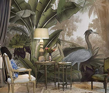 Load image into Gallery viewer, Forest Wallpaper Stork Drawing Wall Mural Banana Leaf Wall Print Natural Home - EK CHIC HOME