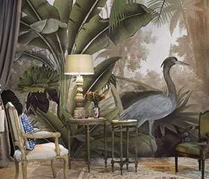 Forest Wallpaper Stork Drawing Wall Mural Banana Leaf Wall Print Natural Home - EK CHIC HOME