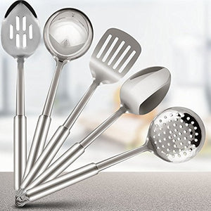 Kitchen Stainless Steel Cooking Utensils Set - 5-Piece Serving Spoons - EK CHIC HOME