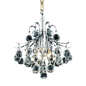 Elegant 3-Light Hanging Fixture with Elegant Cut Crystals, Chrome Finish - EK CHIC HOME
