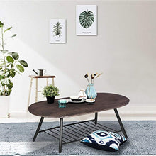 Load image into Gallery viewer, Coffee Table Wooden Industrial Feel Round Cocktail Table with Lower Metal Frame - EK CHIC HOME