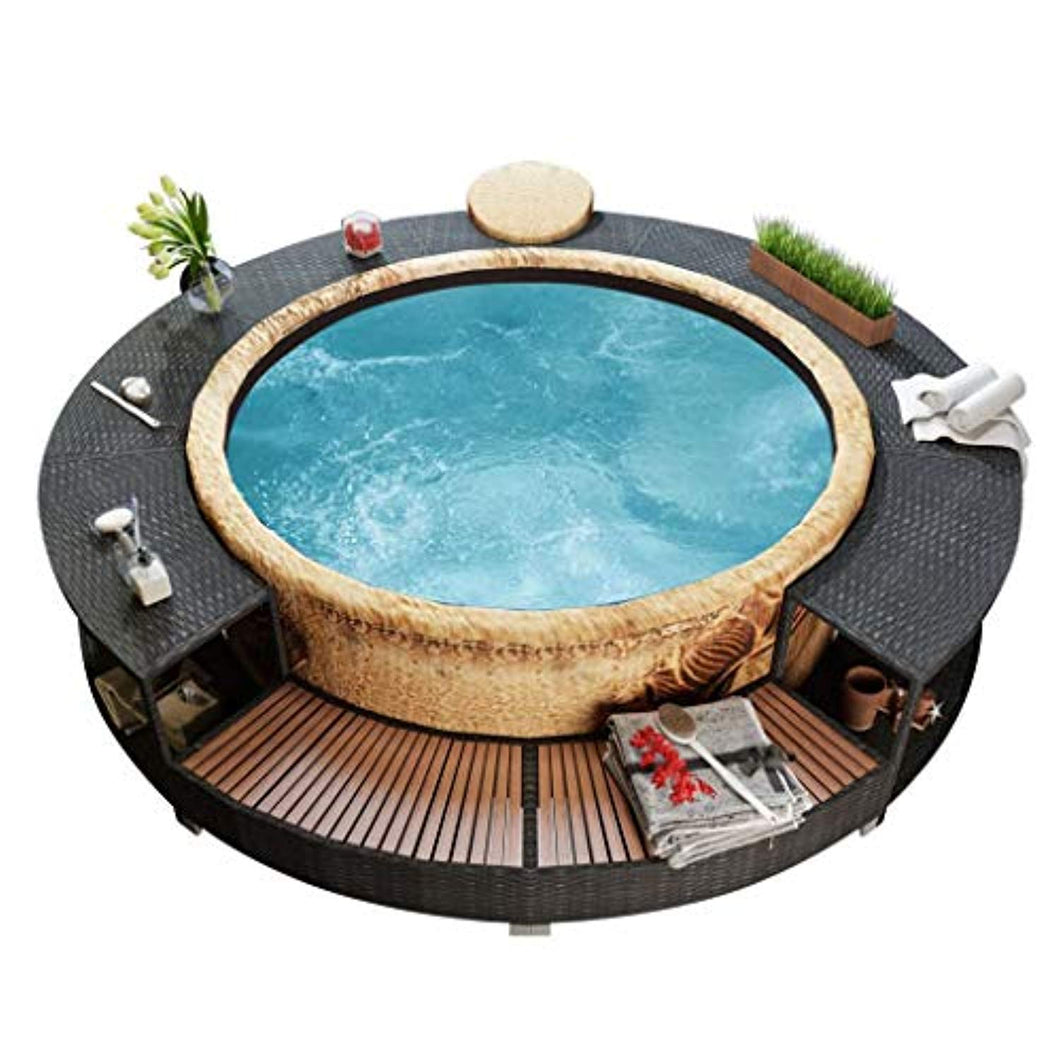 Spa Surround, Tub Surround Poly Rattan Black - EK CHIC HOME