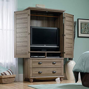 "Harbor View Armoire, For TV's up to 32"", Salt Oak finish - EK CHIC HOME"
