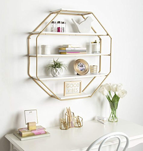 Lintz Large Octagon Floating Wall Shelves with Metal Frame, Gold and White - EK CHIC HOME