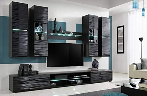 Modern 4 Entertainment Center Wall Unit with LED Lights 50 Inch TV Stand, High Gloss Black - EK CHIC HOME