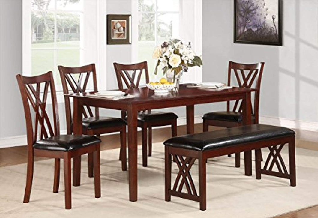 Brooksville 6-Piece Dining Table Set with Bench, Cherry - EK CHIC HOME