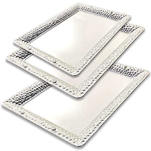 (Pack of 3) Three Sizes - Rectangular Chrome Plated Serving Tray E - EK CHIC HOME