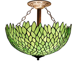 Tiffany Ceiling Fixture Lamp Semi Flush Mount 16 Inch Green Wisteria Stained Glass Shade - EK CHIC HOME