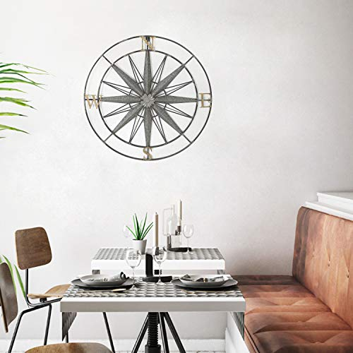 Compass Metal Wall Hanging Art Decor 27.5x27.5 Inches - EK CHIC HOME