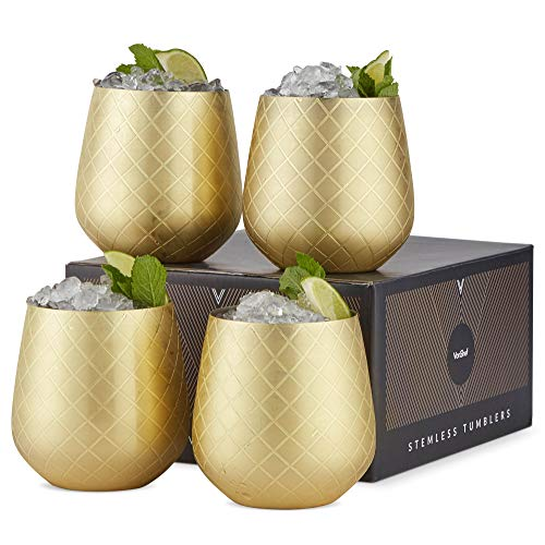 Gold Stemless Wine Glasses, Etched Gold Stainless Steel, 12oz Cups, Set of 4 - EK CHIC HOME