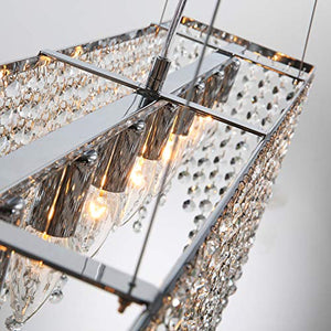 Modern Linear Rectangular Island Dining Room Crystal Chandelier - EK CHIC HOME