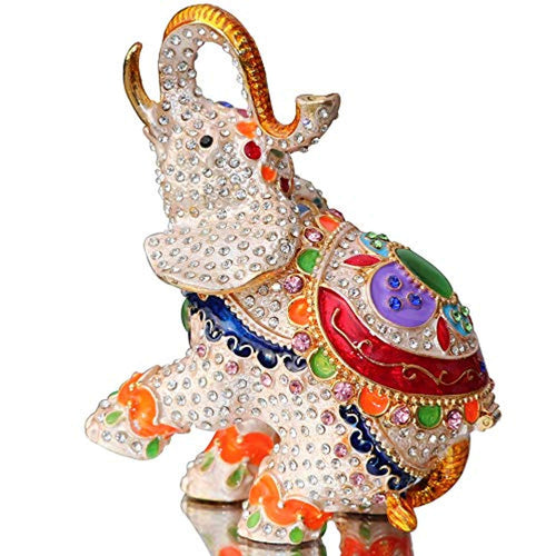 Elephant Trinket Box Hinged Hand-Painted Figurine Collectible Ring Holder - EK CHIC HOME
