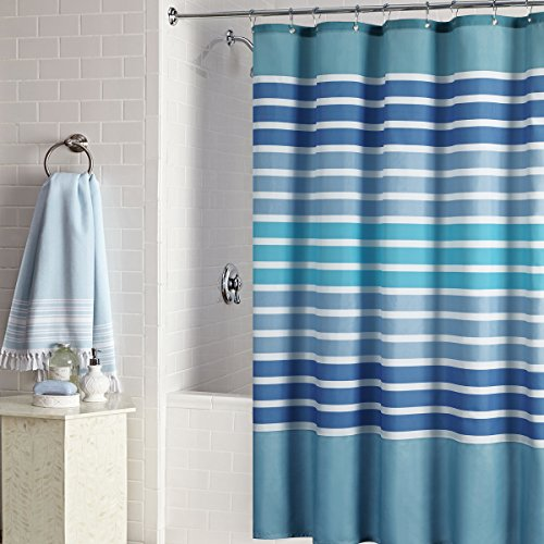 Tampa Shower Curtain,Blue Microfiber Fabric - EK CHIC HOME