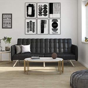 Modern Style with Tufted Cushion, Arm Rests and Chrome Legs, - Black Faux Leather - EK CHIC HOME