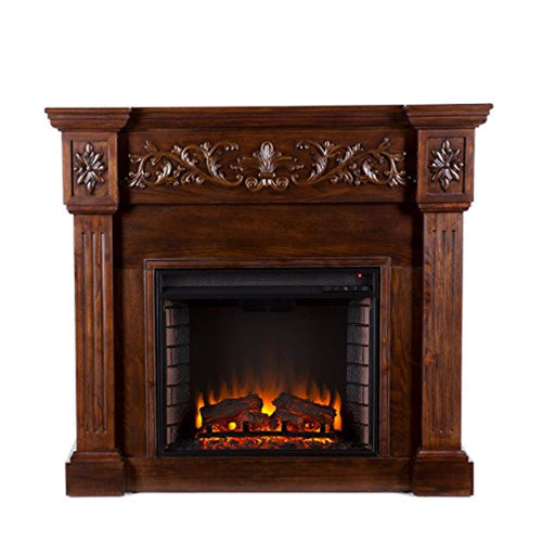 Carved Electric Fireplace - Elegant Mantel Style w/ Floral Trim - Remote Control - EK CHIC HOME