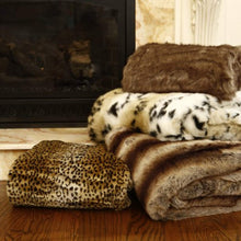 "Load image into Gallery viewer, Faux Fur Throw - Full Blanket - Coyote - 58""W x 84""L - (1 Throw) - EK CHIC HOME"