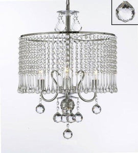 "Contemporary 3-light Crystal Chandelier With Crystal Shade W 16"" x H 21"" - EK CHIC HOME"