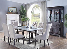 Load image into Gallery viewer, Gerardo Marble Top Dining Table, White/Weathered Espresso - EK CHIC HOME