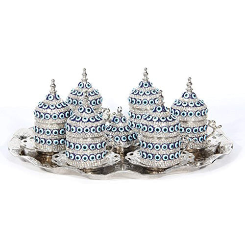 27 Pc Ottoman Turkish Greek Arabic Coffee Espresso Serving Cup Saucer (Evil Eye) - EK CHIC HOME