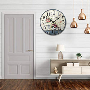 12 inch Simplicity Wooden Wall Clock, Silent Quartz Battery Operated Rustic Country Tuscan Style Decorative Round Clock - EK CHIC HOME
