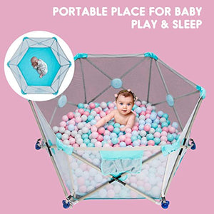 Playpen Pop N' Portable Playard for Babies/Toddler/Newborn/Infant with Travel Bag,6-Panel,More Protect,More Funny Time [ Blue ] - EK CHIC HOME