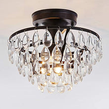 Load image into Gallery viewer, Antique Black Flush Mount Light Fixture Ceiling Crystal Light - EK CHIC HOME