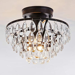 Antique Black Flush Mount Light Fixture Ceiling Crystal Light - EK CHIC HOME