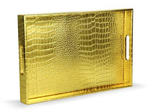 "Load image into Gallery viewer, Elegant Gold 18""x12"" Rectangle Glossy Alligator Serving Tray - EK CHIC HOME"