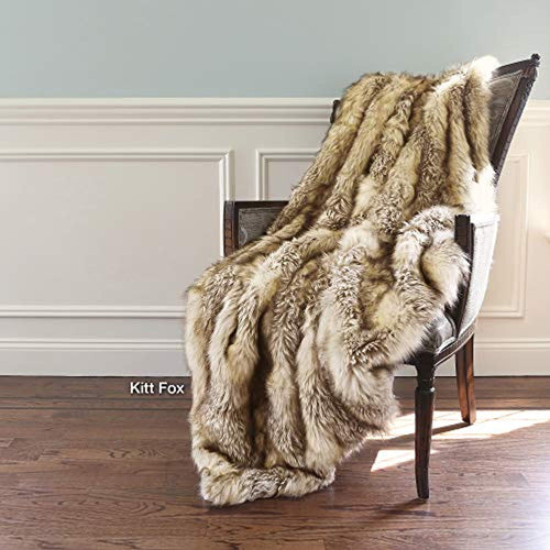 Faux Fur Throw - Lounge Blanket - Kitt Fox - 58