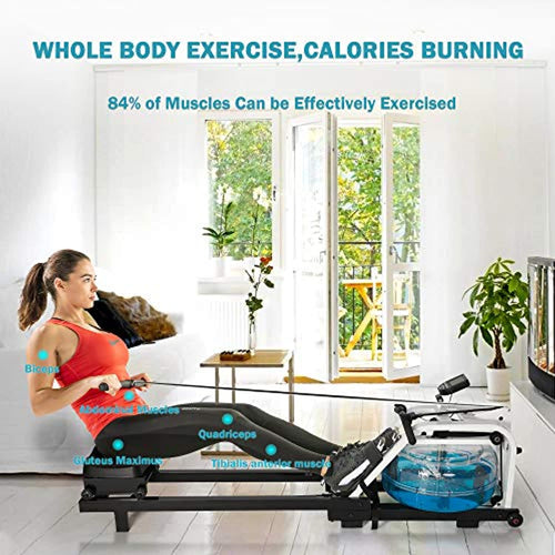 Water Rowing Machine - LCD Monitor for Calories Burned Sports Exercise Equipment in Home Gym