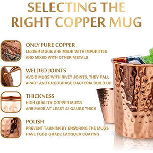 Moscow Mule Copper Mugs Set :4 16 oz. Solid Genuine Copper Mugs : Cylindrical Shape - EK CHIC HOME