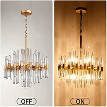 Load image into Gallery viewer, Crystal Chandelier,8 Light Round Pendant Light,Width 19 inch,Brass Metal + Clear Glass