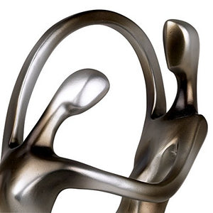 "Silver Abstract 14 3/4"" High Dancing Couple Sculpture - EK CHIC HOME"