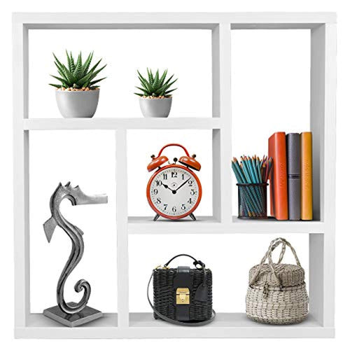 Sorbus Floating Shelf Geometric Square — Square Wall Shelf with 5 Openings - EK CHIC HOME