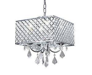 4-Light Chrome Finish Square Metal and Crytal Shade Crystal Chandelier - EK CHIC HOME