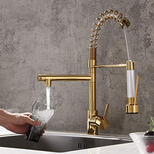 Luxury Single Hole Pull Out Spring Sprayer Dual Spout Kitchen Faucet Solid Brass - EK CHIC HOME