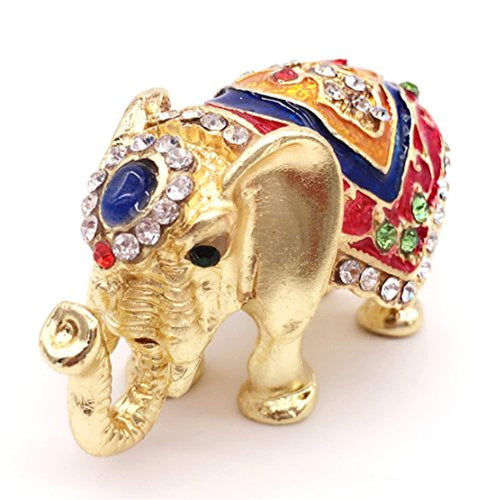 Elephant Jewelry Trinket Box Hinged Figurines Statues with Gift Box - EK CHIC HOME