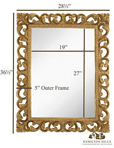 "Antique Gold Frame Mirror (28.5"" x 36.5"") - EK CHIC HOME"