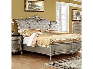 Luxurious Design Bedroom 4pc Set Gold Finish Tufted California King Size - EK CHIC HOME