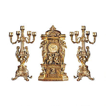 Load image into Gallery viewer, Chateau Chambord Clock and Candelabra Ensemble, 20 Inch, Complete Set of 3 Pcs - EK CHIC HOME